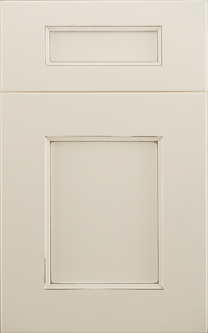 Winslow Maple cabinet door finished in Divinity Java with a Classic Drawer Front Standard - Aspire fameless cabinetry