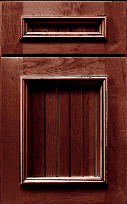 Bridgeport Maple cabinet door finished in Cranberry Charcoal with a Classic Drawer Front Standard - Elegant Bath
