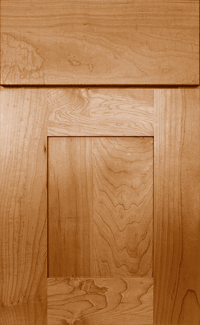 Bristol Maple cabinet door finished in Ginger with a Slab Drawer Front Standard - Estate Series