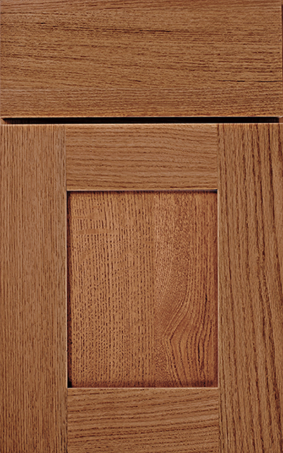Bristol Oak cabinet door finished in Ginger with a Slab Drawer Front Standard - Premier Series