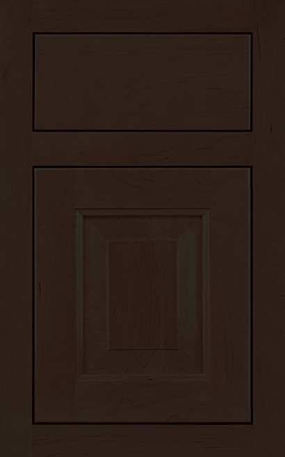 Davenport Square Inset Cherry cabinet door finished in Espresso with a Slab Drawer Front Standard - Premier Series