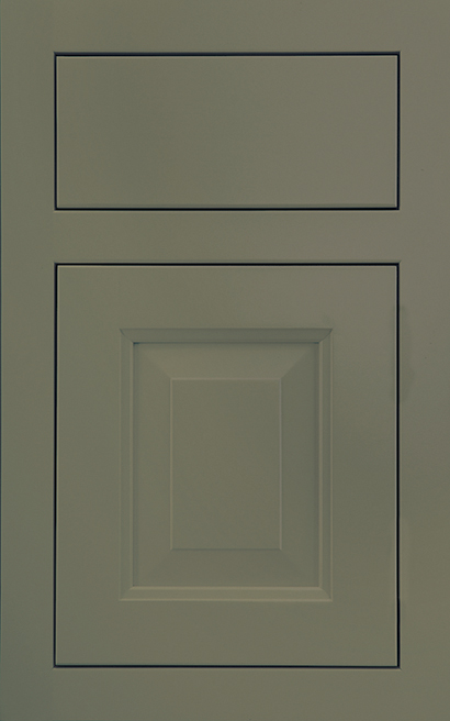 Davenport Square Inset Maple cabinet door finished in Olive with a Slab Drawer Front Standard - Premier Series