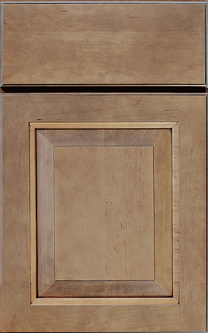 Davenport Square Maple cabinet door finished in Oatmeal Slate with a Slab Drawer Front Standard - Estate Series
