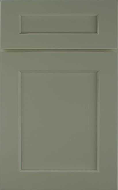 Galena Square Maple cabinet door finished in Olive with a Classic Drawer Front Option - Premier Series