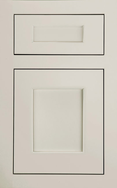 Galena Square Inset Maple cabinet door finished in Gray Mist with a Classic Drawer Front Option - Estate Series