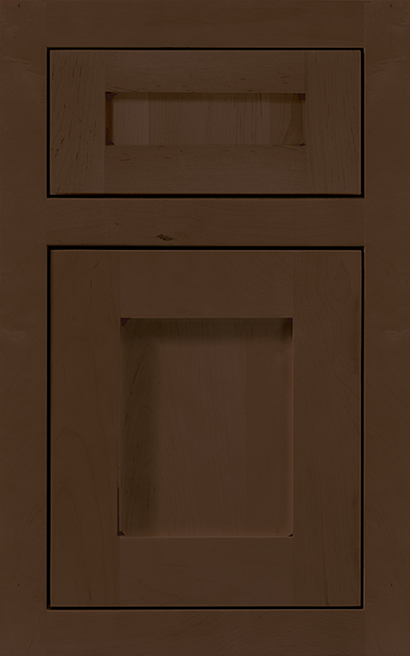 Hanover Inset Maple cabinet door finished in Caramel Java with a Classic Drawer Front Option - Product line id was not supplied.