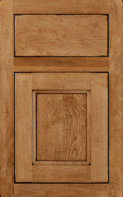 Henlow Square Inset Maple cabinet door finished in Ginger Java with a Slab Drawer Front Standard - Premier Series