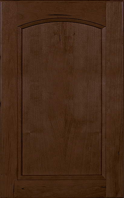 Millbrook Arch Cherry cabinet door finished in Caramel (no drawer front) - Product line id was not supplied.