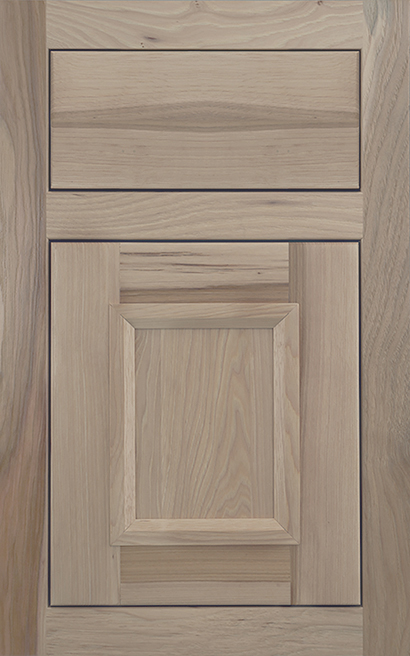 Modesto Inset Hickory cabinet door finished in Shale with a Slab Drawer Front Standard - Product line id was not supplied.