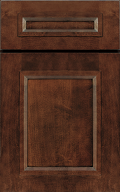 Modesto Maple cabinet door finished in Blush Java with a Classic Drawer Front Standard - Product line id was not supplied.