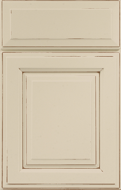 Madison Square Maple cabinet door finished in Creme Mocha with a Slab Drawer Front Standard - Product line id was not supplied.