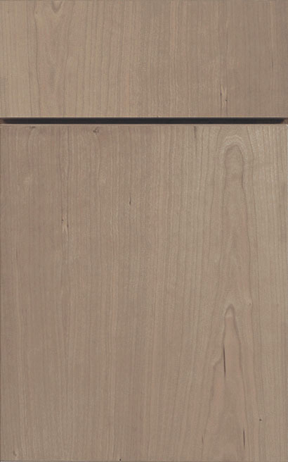 Milan Cherry cabinet door finished in Shale with a Vertical Grain Drawer Front Standard - Premier Series