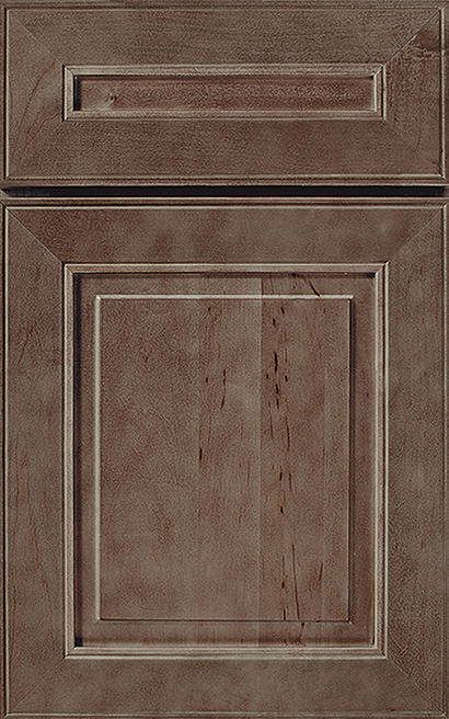 Monterey Maple cabinet door finished in Drift with a Classic Drawer Front Standard - Premier Series