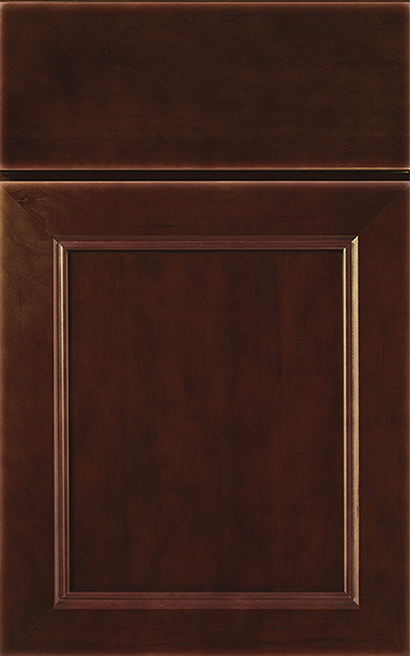 Napa Cherry cabinet door finished in Sienna with a Slab Drawer Front Option - Product line id was not supplied.