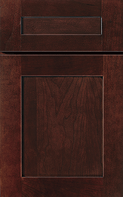 Prairie Cherry cabinet door finished in Sienna Charcoal with a Classic Drawer Front Option - Product line id was not supplied.