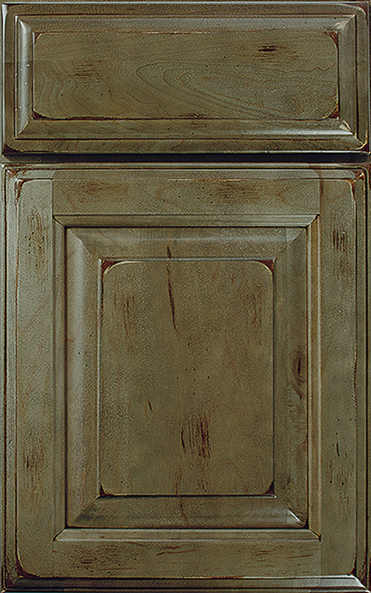 Seville Square Maple cabinet door finished in Evergreen Java with a Slab Drawer Front Standard - Premier Series