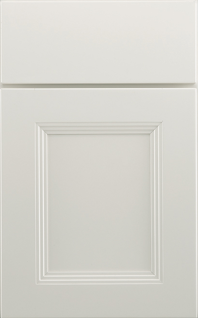 Wellington Maple cabinet door finished in Oyster White with a Slab Drawer Front Option - Product line id was not supplied.