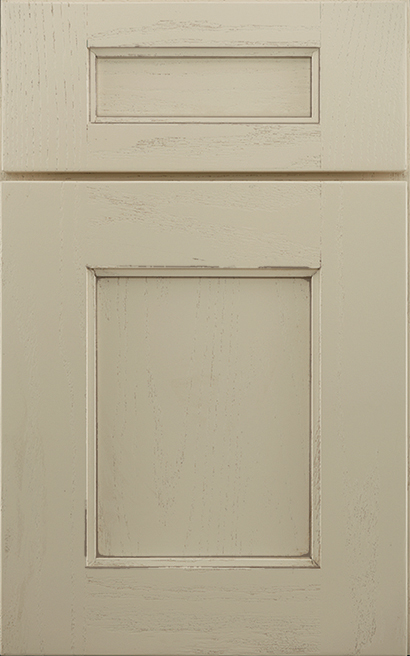 Winslow Oak cabinet door finished in Divinity Java with a Classic Drawer Front Standard - Estate Series