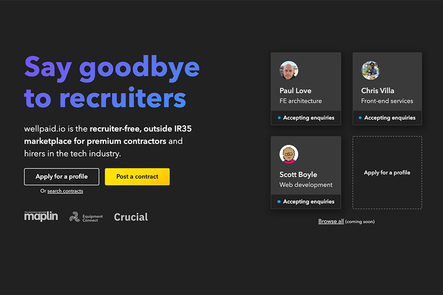 Introducing...wellpaid.io's new recruiter-free marketplace for tech contractors and hirers