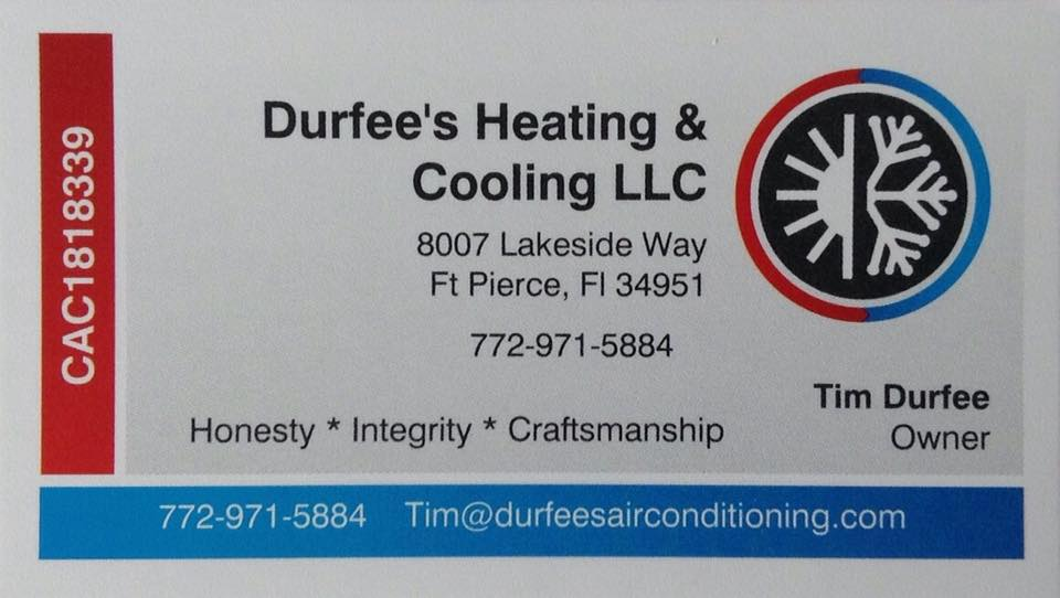 Website for Durfee's Heating & Cooling, LLC