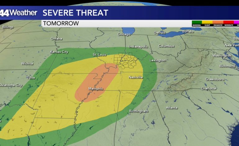 Slight Risk of Severe Storms Saturday, Drier Seasonable Sunday