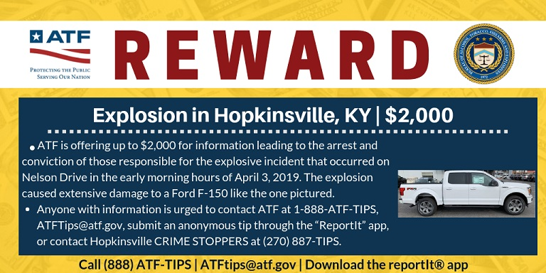 Photo of ATF Offering $2(K) Reward for Information About a Kentucky Explosion