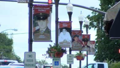 Photo of Banners in Downtown Madisonville Honor Hometown Heroes