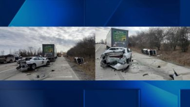 Photo of Indiana State Police Vehicle Struck During Traffic Stop