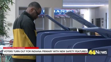Photo of Voters Turnout for Indiana Primary at Socially Distanced Polling Sites