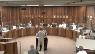 Photo of Public Speaks on Evansville Mask Mandate at City Council Meeting