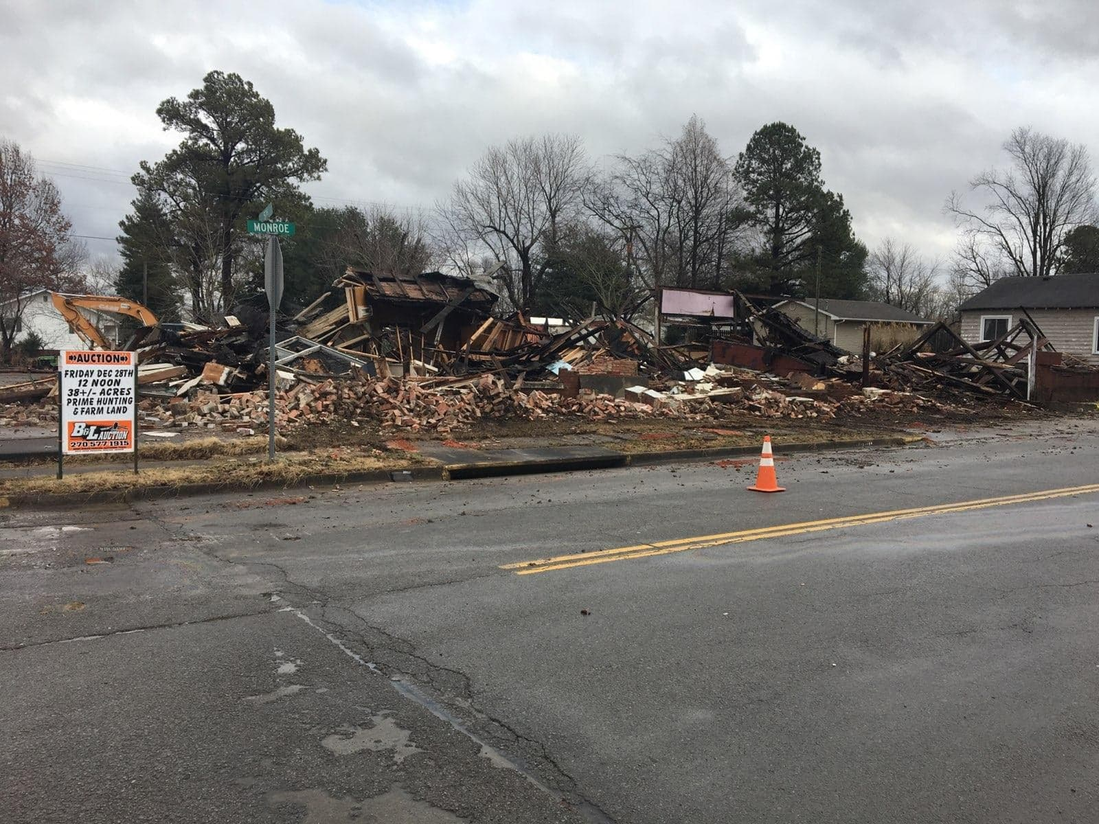Photo of Road in Union County Blocked by Downed Building