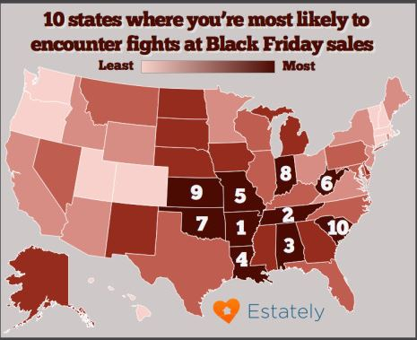 Photo of Holiday Stress Getting To Hoosiers, Indiana 8th Most Likely For Black Friday Brawls