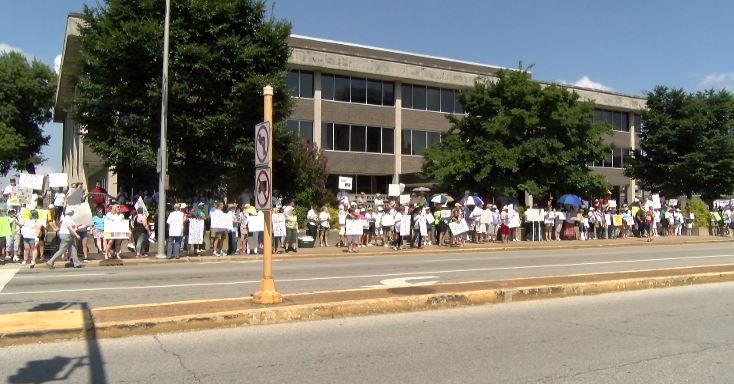 Photo of Peaceful Protesters Walk the Streets of Evansville