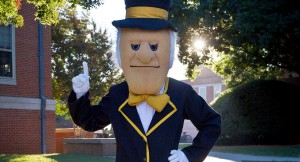 Deacon mascot showing number one