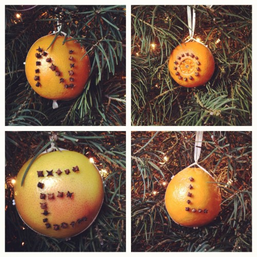 I helped mom make some Christmas ornaments.