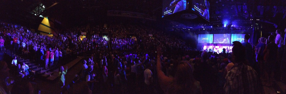 This is what worshipping with 6,000 or so of our coworkers looks like.