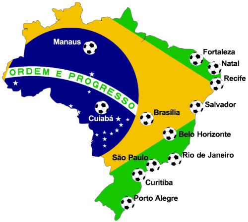 The 12 cities of the World Cup 2014.