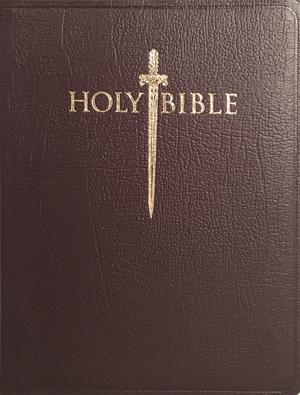 KJV Sword Study Bible Personal Size Large Print Burgundy Genuine Leather -  -
