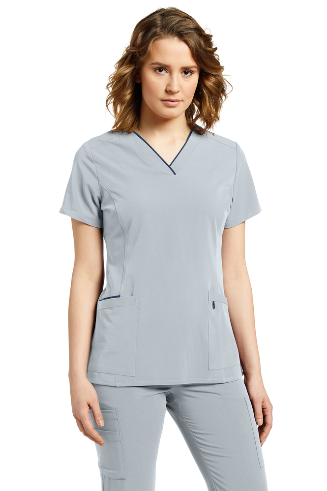 Nurse Scrub Top V Neck City Pearl Color