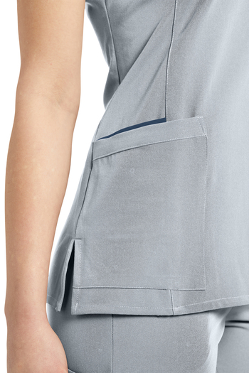 Nurse Scrub Top V Neck City Pearl Color detailed view left