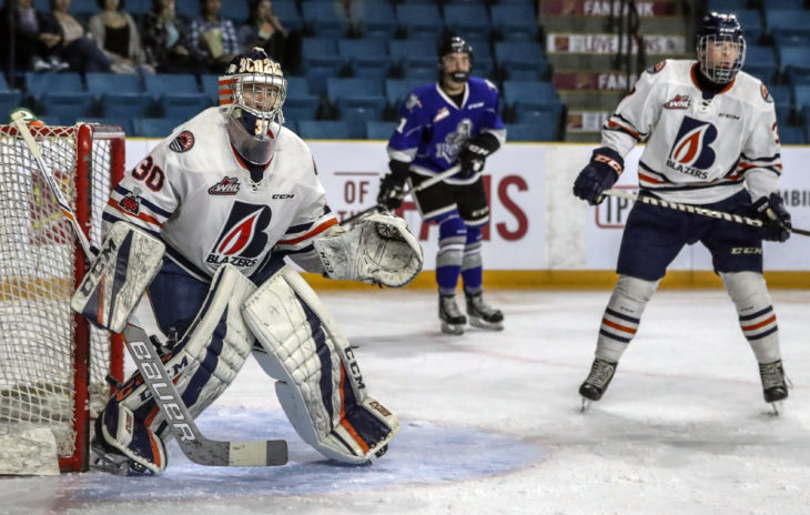 Max Palaga in action against the Victoria Royals at Sandman Centre in Kamloops (photo by Allen Douglas)