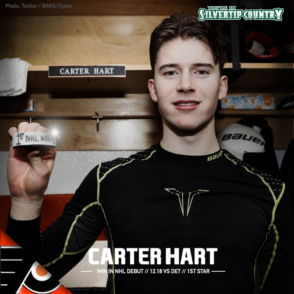 15f898ec3dd Goaltender Carter Hart, last season's Western Hockey League Player of the  Year and back-to-back-to-back Most Valuable Player of the Everett  Silvertips, ...
