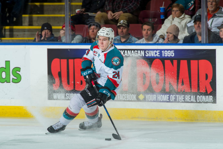 KELOWNA, CANADA - FEBRUARY 20: Kyle Topping #24 of the Kelowna Rockets skates with the puck against the Prince George Cougars on February 20, 2018 at Prospera Place in Kelowna, British Columbia, Canada. (Photo by Marissa Baecker/Shoot the Breeze) *** Local Caption ***