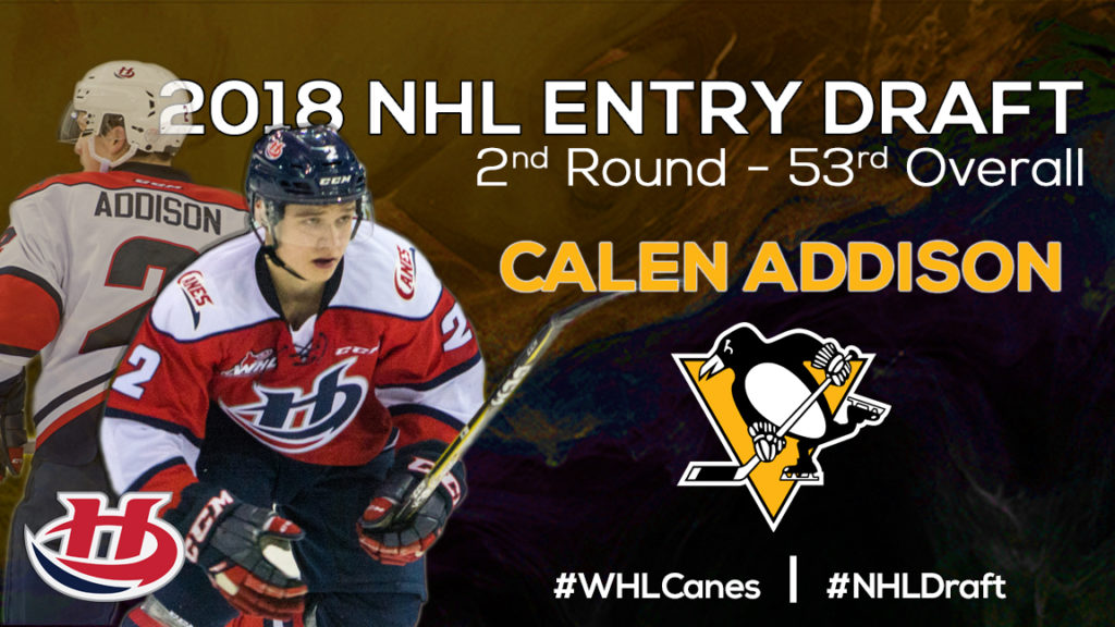 Addison Selected 53rd Overall By The Pittsburgh Penguins