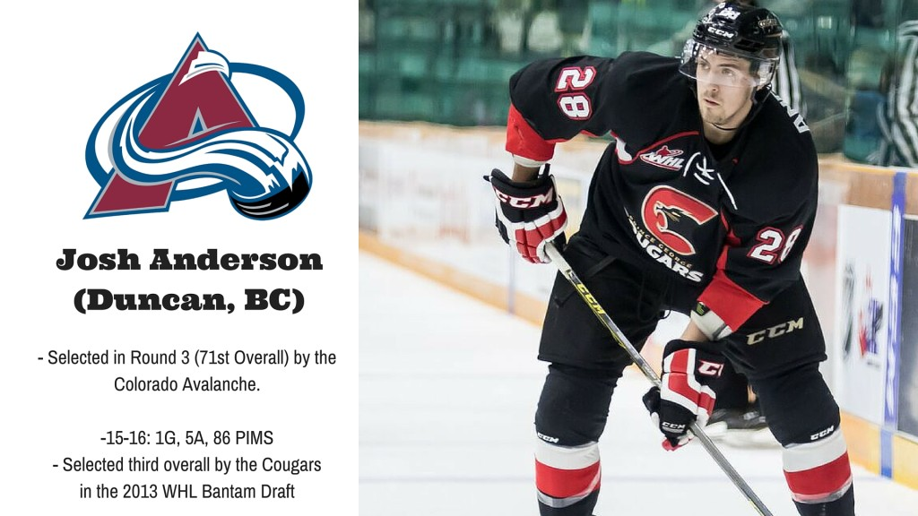 promo code dafe6 d1ea4 JOSH ANDERSON SELECTED 71ST OVERALL BY THE COLORADO ...