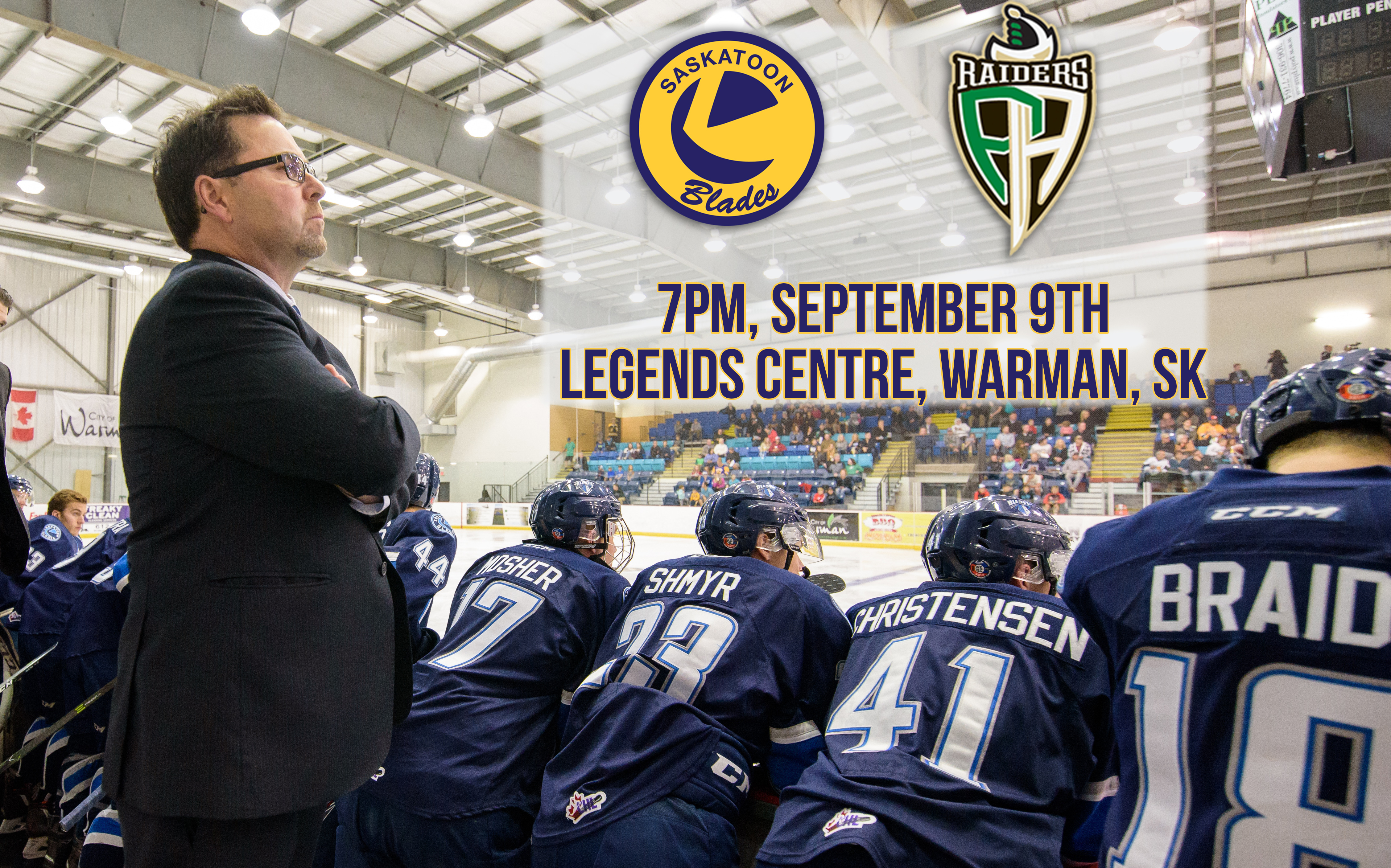 The Saskatoon blades vs The Prince Albert Raiders in Pre Season Action at the Legends Centre Warman, Saskatchewan, Canada, September 10, 2016