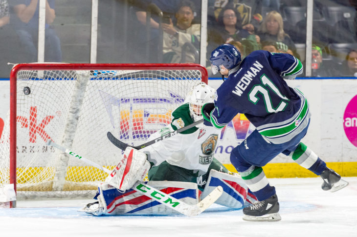 Matthew Wedman scores in the shootout on Tuesday, September 11, 2018, at acccesso ShoWare Center.