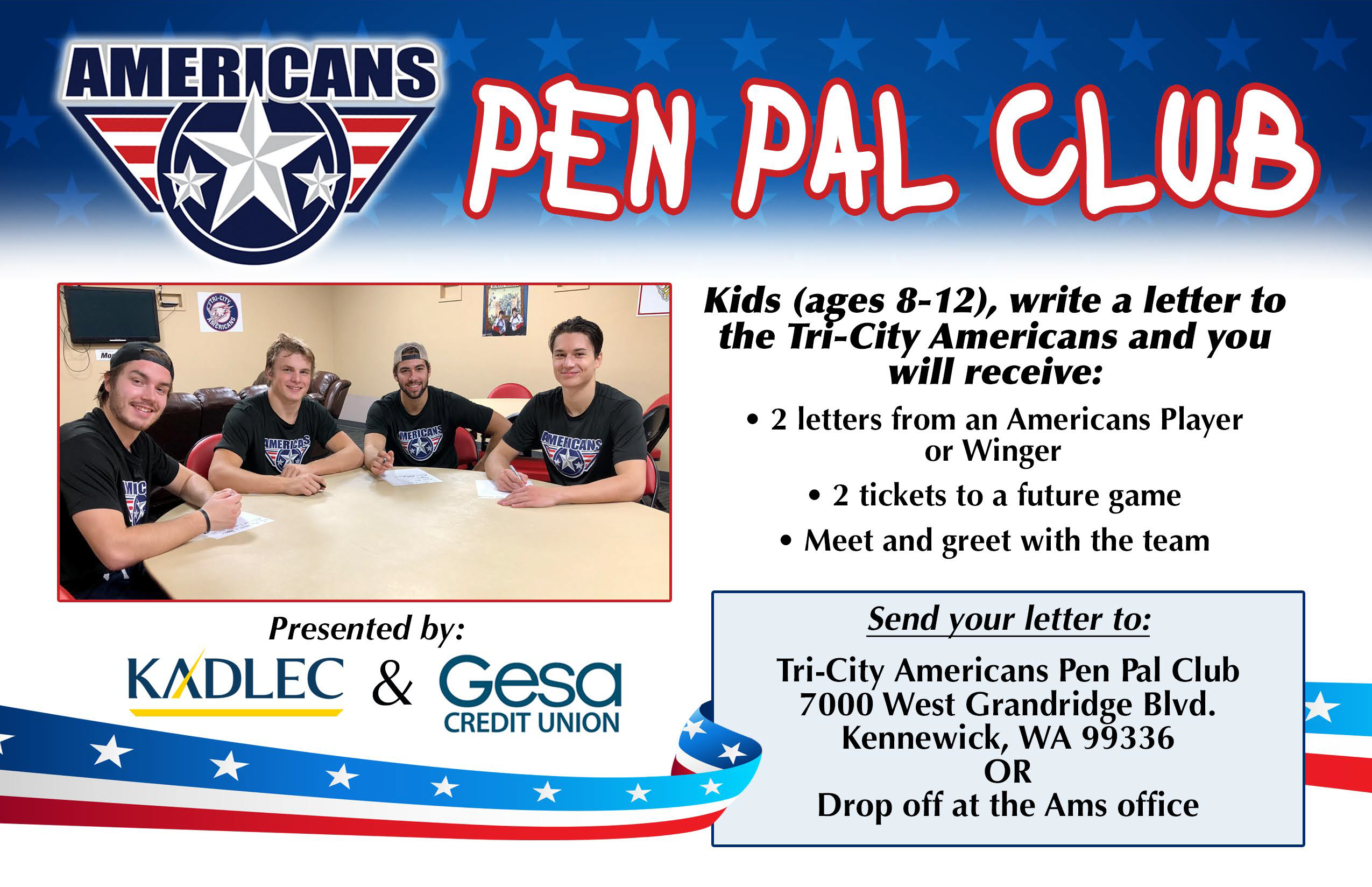 Kadlec Pen Pal Club – Tri-City Americans