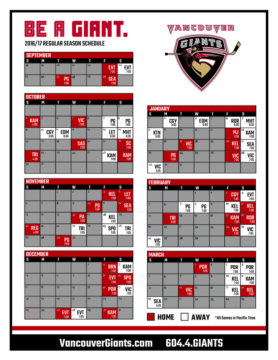 picture relating to Printable Giants Schedule referred to as Regular monthly Time Calendar Agenda - Vancouver Giants
