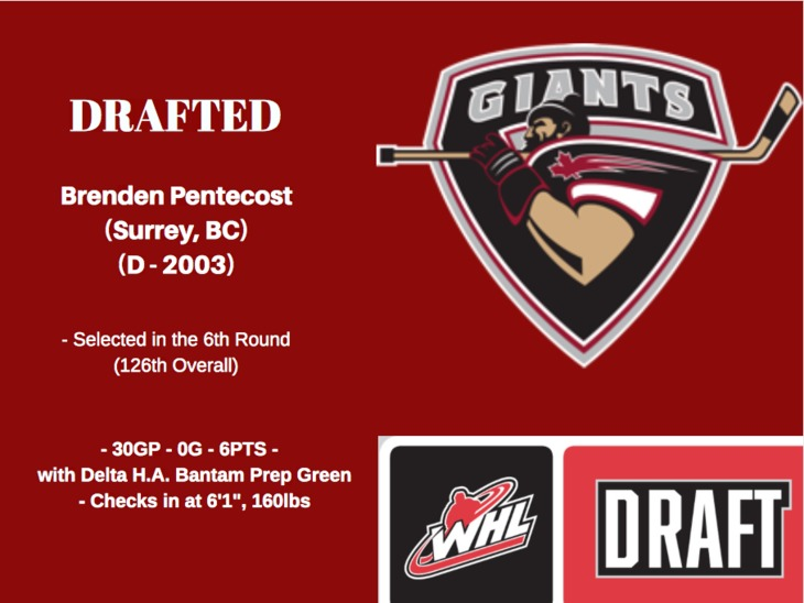 Brenden Pentecost DRAFTED